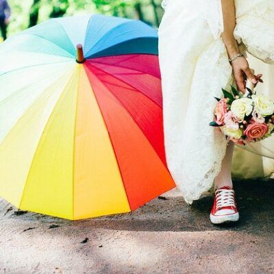Colorful Parasols As Wedding Accessories